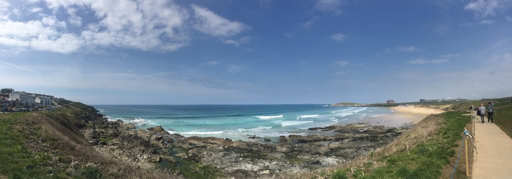Fistral Beach welcomes in the waves of the Atlantic Ocean.